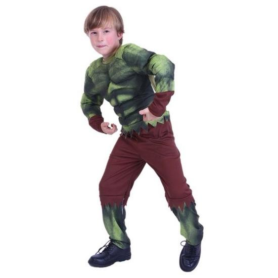 Gespierde groene held kostuum voor jongens