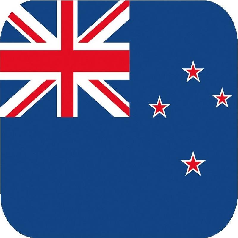 Glas viltjes met Nieuw Zeelandse vlag 15 st