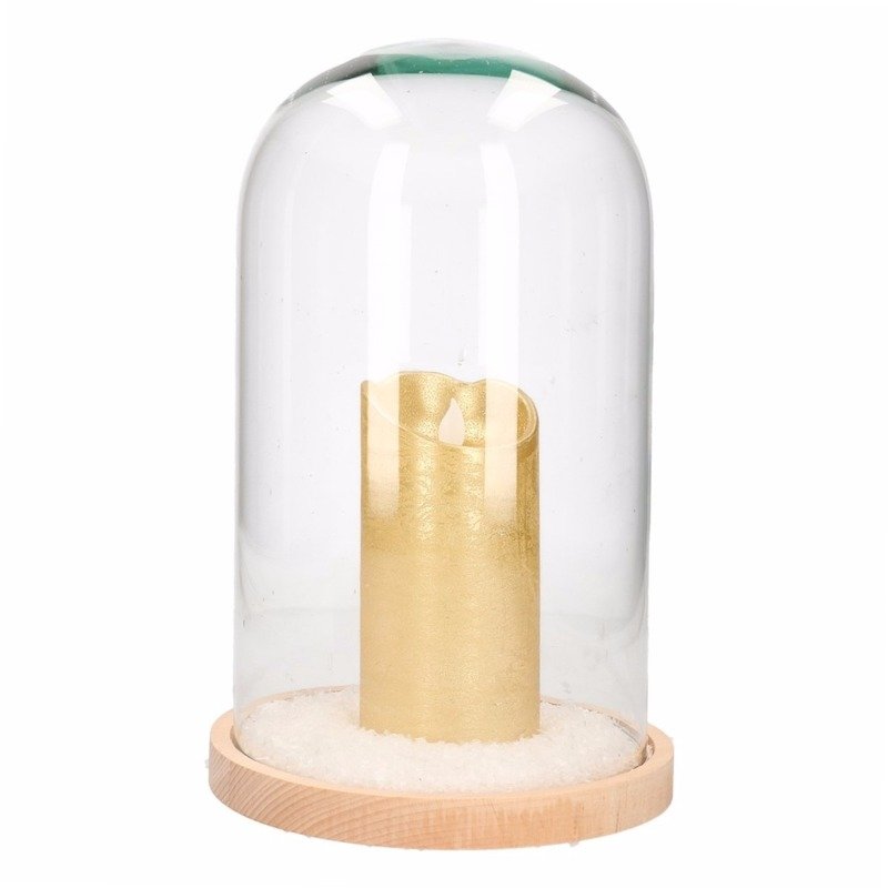 Glazen cloche-stolp met hoge gouden LED kaars 30 cm