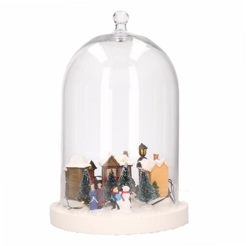 Glazen cloche-stolp met winters kerstdorpje