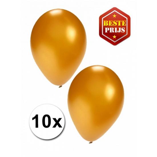 Gouden decoratie ballonnen 10 stuks