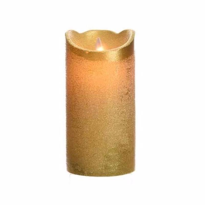 Gouden LED kaarsen-stompkaarsen 15 cm flakkerend