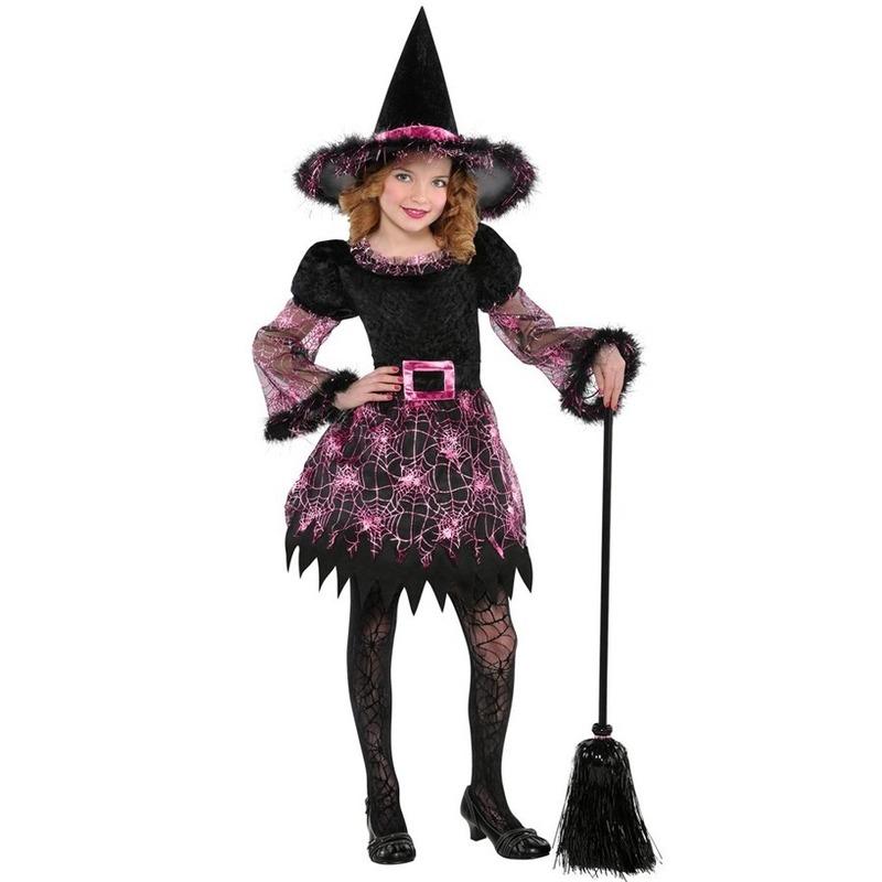Halloween Heksen kostuum spinnenweb voor meisjes