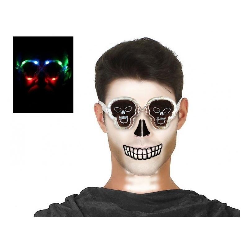Halloween Horror doodskop verkleed bril met verlichting voor volwassen