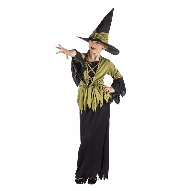 Halloween Lange heksenjurk zwart-groen voor meisjes