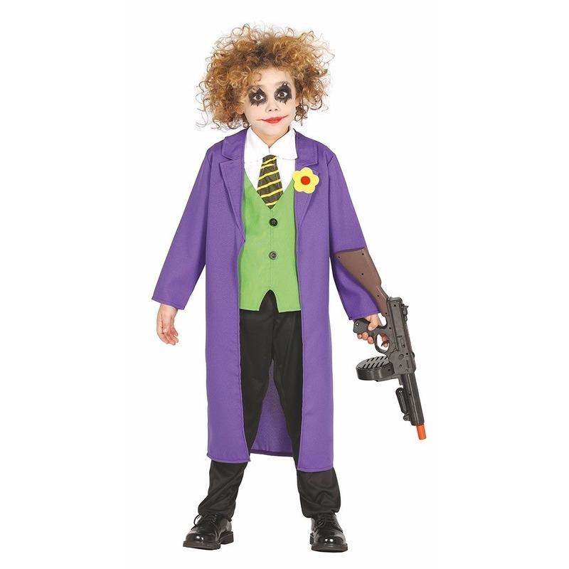 Halloween Luxe paarse horror clown Joker kostuum voor kinderen
