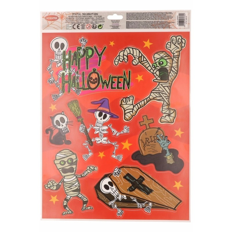 Halloween raamdecoratie stickervel oranje