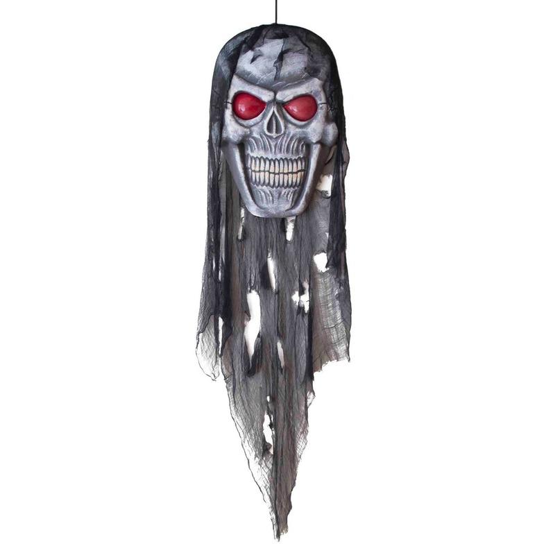 Halloween versiering doodshoofd pop met licht 75 cm