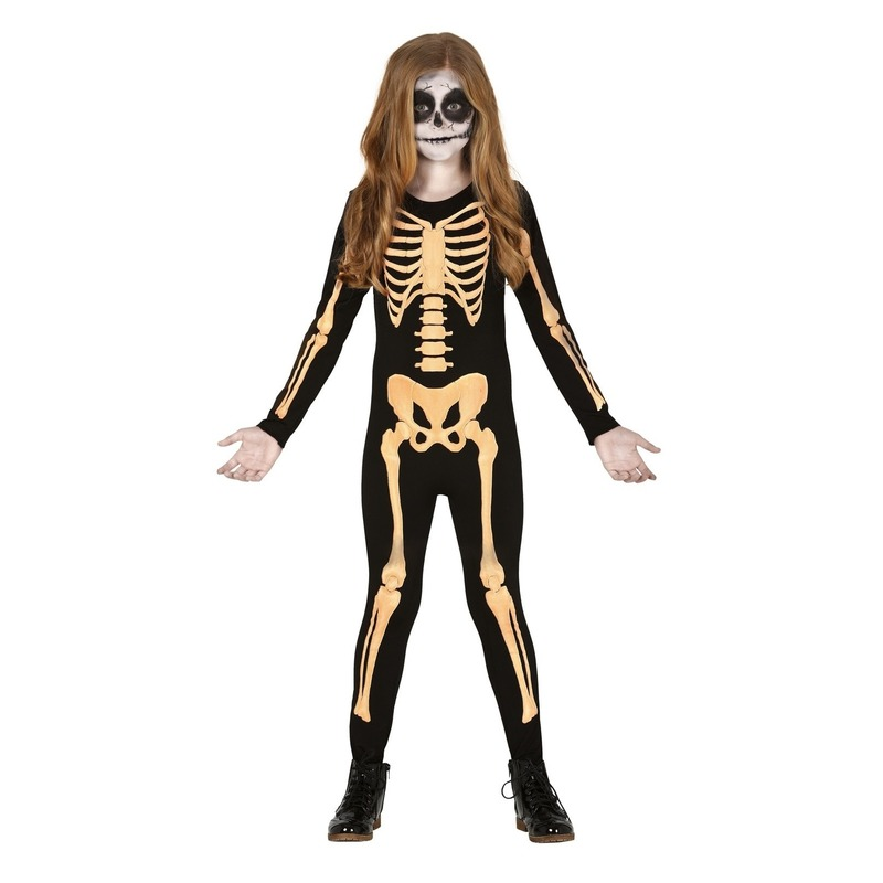Halloween Zwart-oranje skelet verkleedpak voor kinderen kostuum