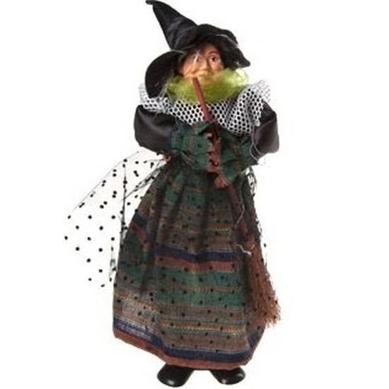Heks decoratie pop groen-zwart 25 cm Halloween versiering