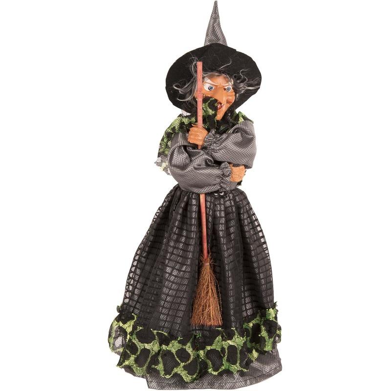 Heks decoratie pop groen-zwart 40 cm Halloween versiering