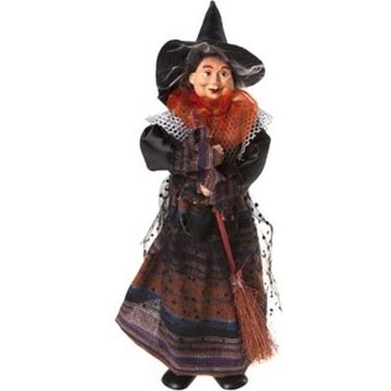 Heks decoratie pop oranje-zwart 25 cm Halloween versiering