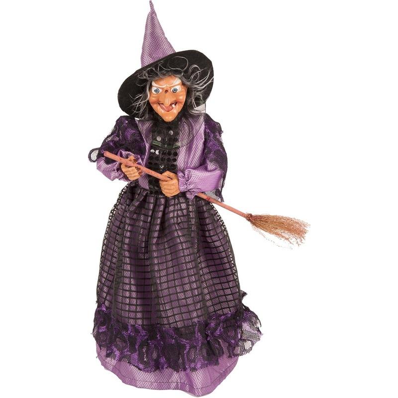 Heks decoratie pop paars-zwart 40 cm Halloween versiering