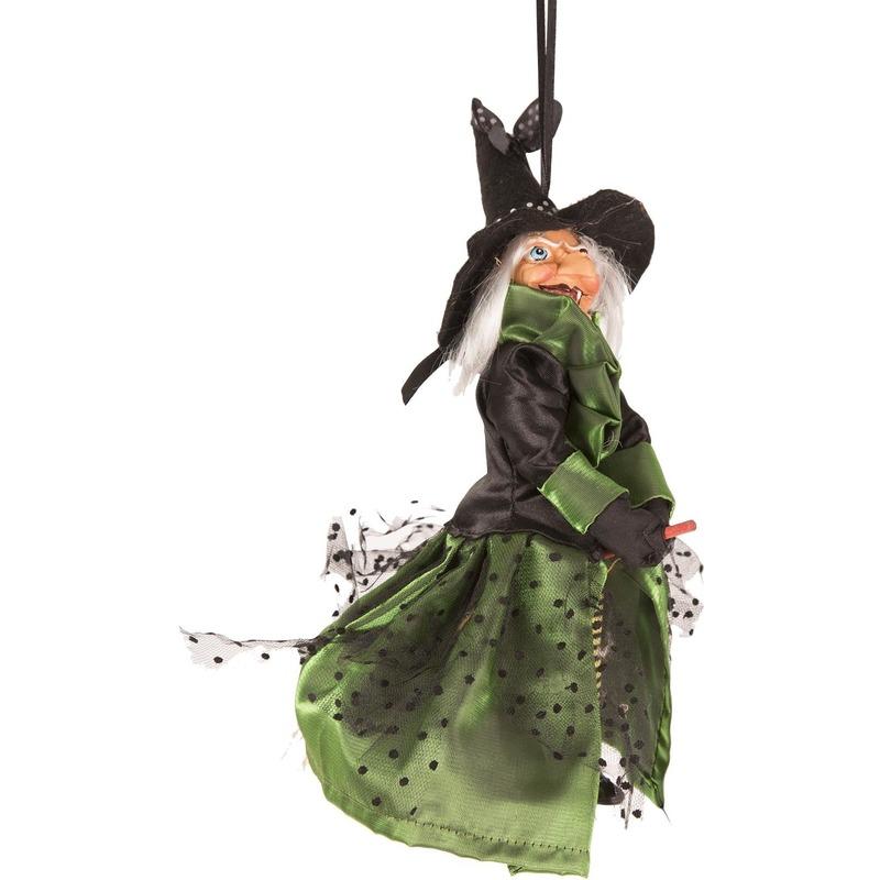 Heks hangdecoratie pop groen-zwart 25 cm Halloween versiering