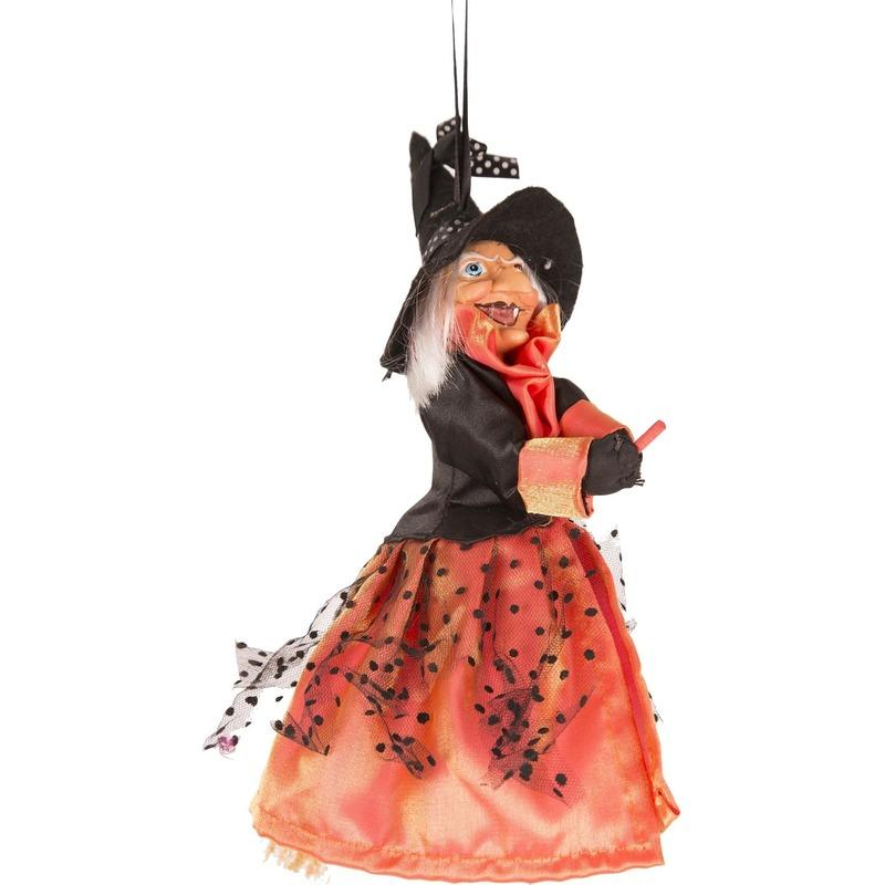 Heks hangdecoratie pop oranje-zwart 25 cm Halloween versiering