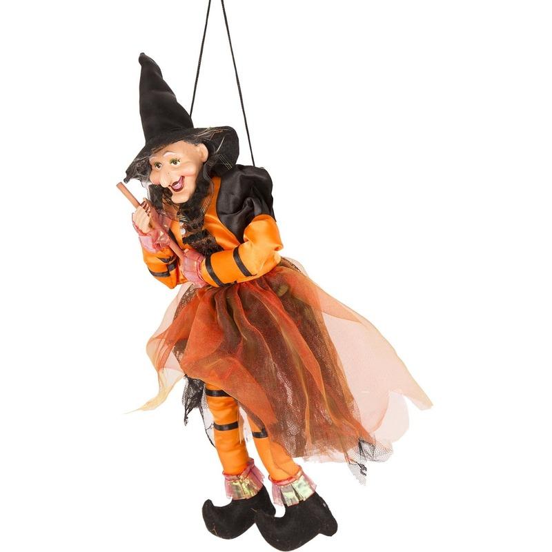 Heks hangdecoratie pop oranje-zwart 45 cm Halloween versiering