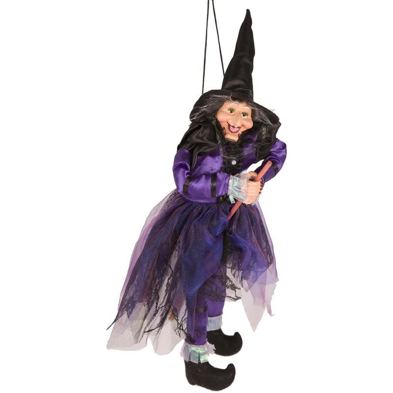 Heks hangdecoratie pop paars-zwart 45 cm Halloween versiering
