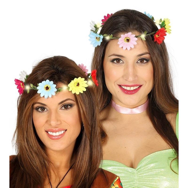 Hippie-flower power verkleed bloemen hoofd krans voor dames