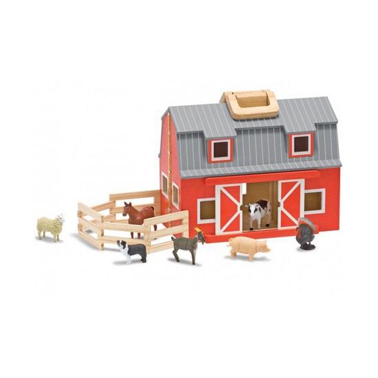 Houten boerderij schuur met dieren