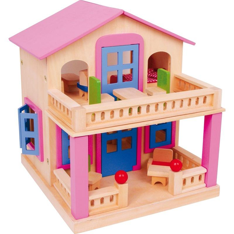 Houten huis Clara voor poppen