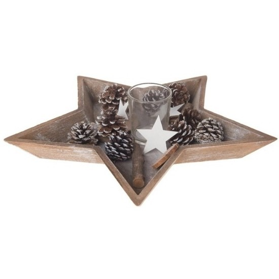 Houten ster-stervorm dienblad-plateau-tray met kerstdecoratie