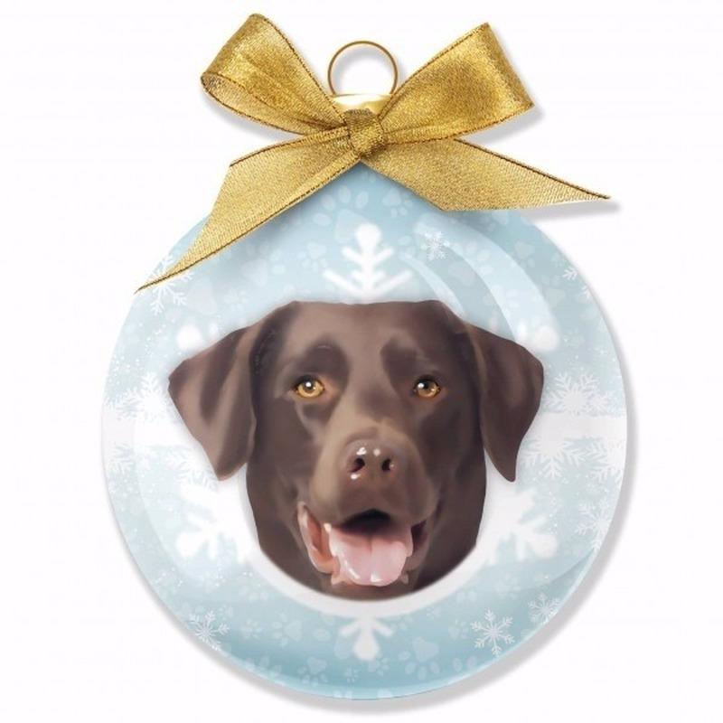 Huisdieren kerstballen hondjes Labrador Chocolate