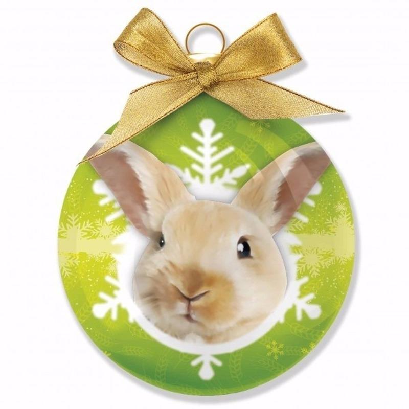 Huisdieren kerstballen konijntjes