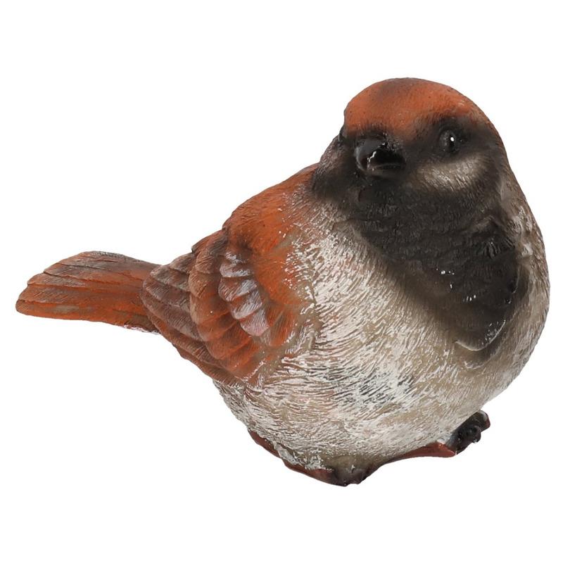 Huismus vogel beeldje woondecoratie 14,5 x 6,5 x 8,5 cm