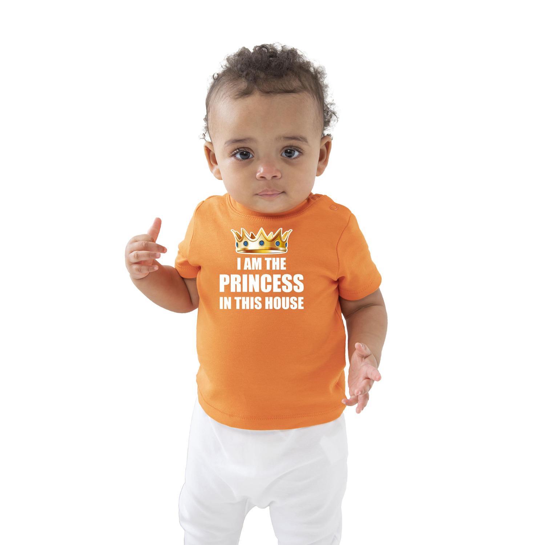 I am the princess in this house Koningsdag t-shirt oranje baby-peuter voor meisjes