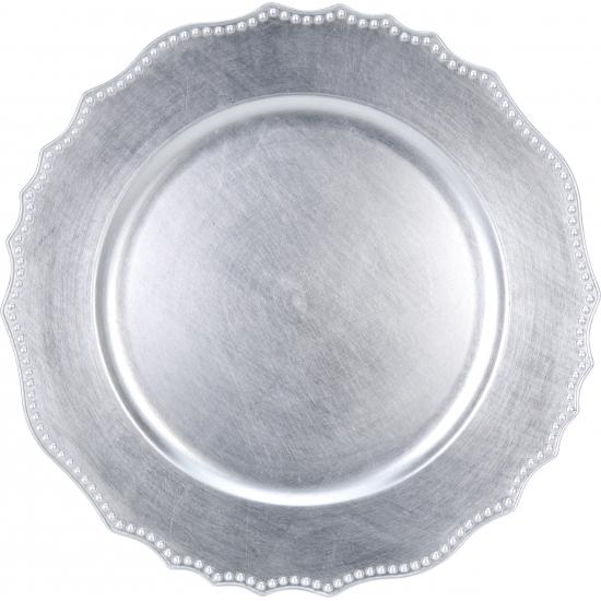 Kaarsenbord-plateau zilver 33 cm rond
