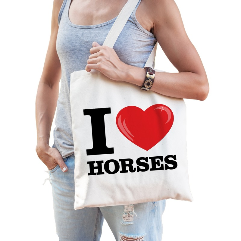 Katoenen tasje I love horses- paarden