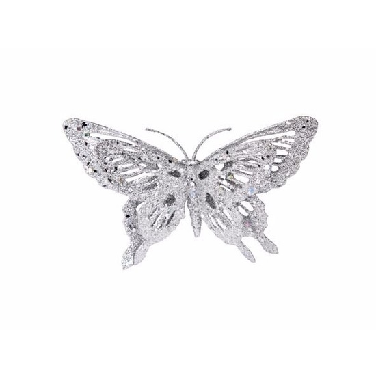 Kerst decoratie vlinder zilver 15 x 11 cm