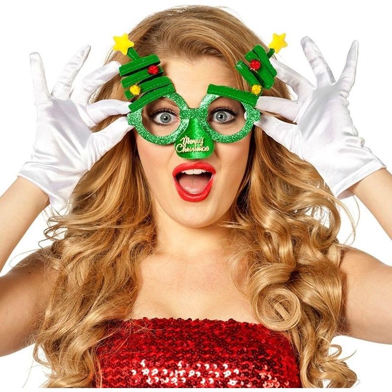 Kerst feest-verkleed bril groen met kerstbomen voor volwassenen