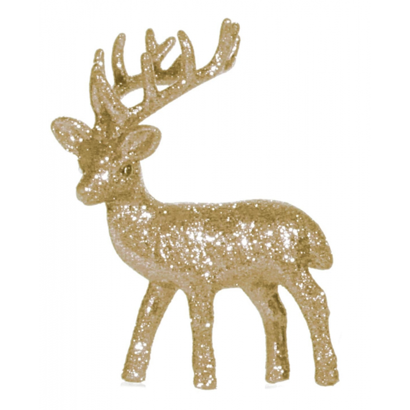 Kerst gouden rendier vensterbank versiering 10 cm