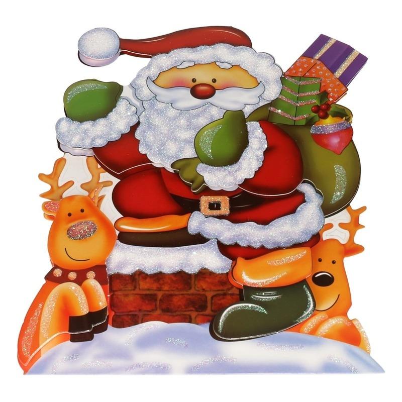 Kerst raamstickers-raamdecoratie 3D Kerstman 25 x 34 cm