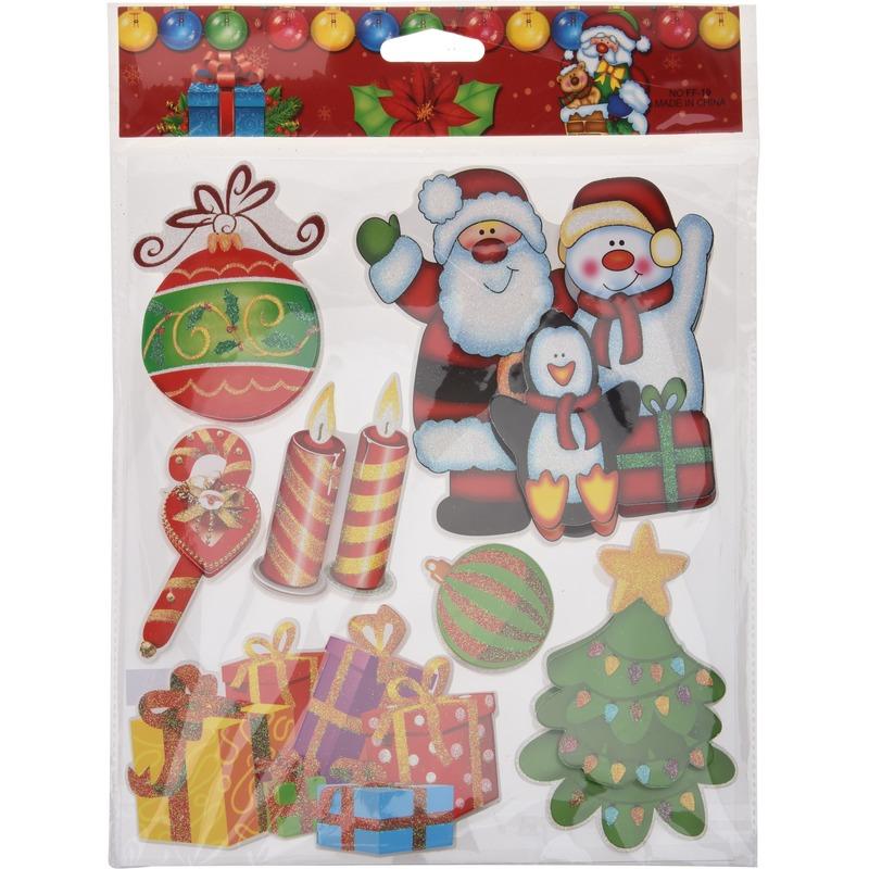 Kerst raamstickers-raamdecoratie 3D stickers type 1 29 x 36 cm