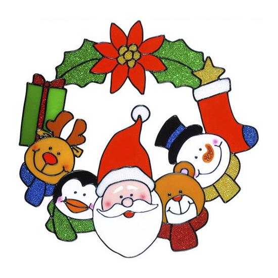 Kerst raamstickers-raamdecoratie kerstkrans plaatjes 30 cm