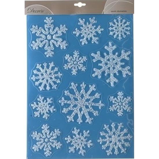 Kerst raamstickers-raamdecoratie sneeuwvlok plaatjes 30 x 40 cm