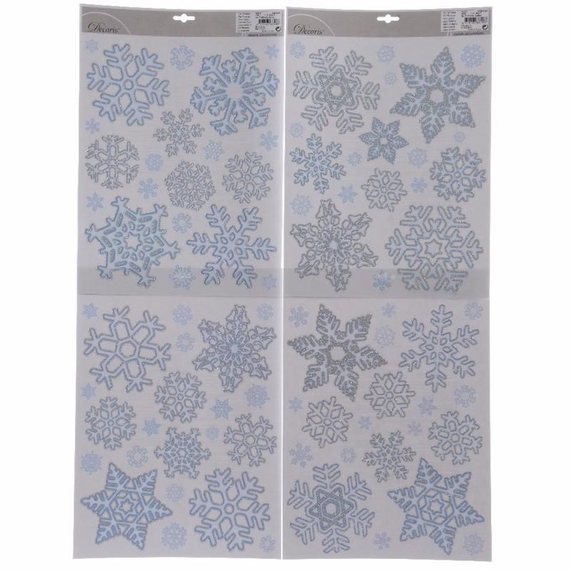 Kerst raamstickers-raamdecoratie sneeuwvlok plaatjes 30 x 46 cm