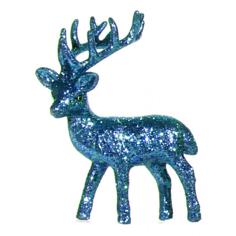 Kerst turquoise rendier vensterbank versiering 10 cm