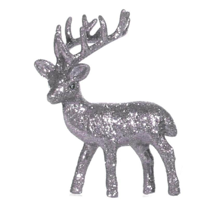 Kerst zilveren rendier vensterbank versiering 10 cm