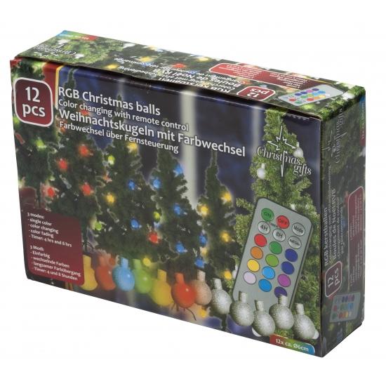 Kerstballen met gekleurde verlichting