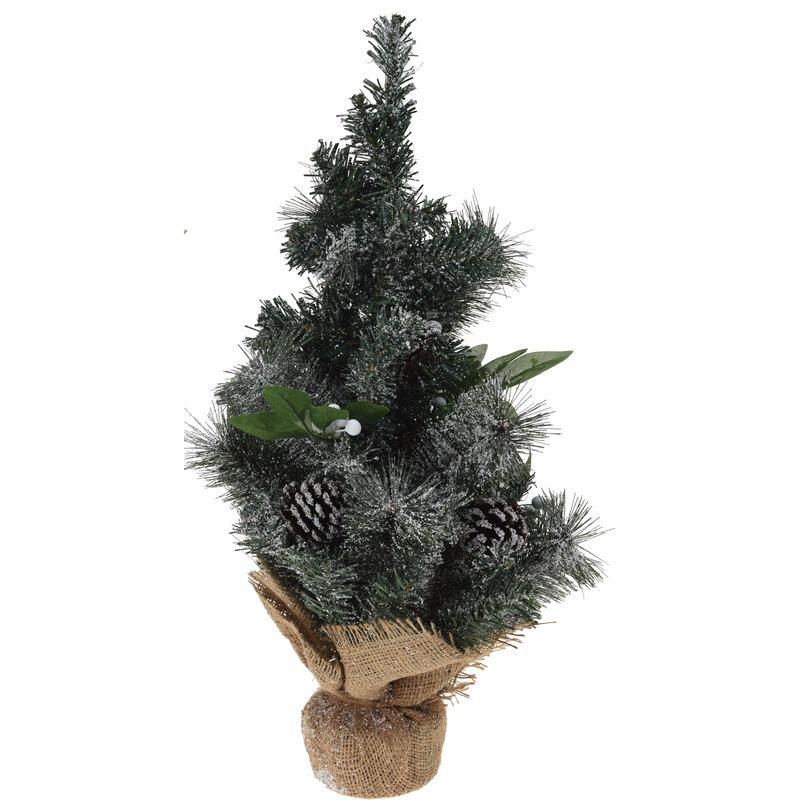 Kerstboom met versiering-decoratie en jute voet 50 cm