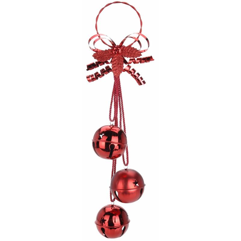 Kerstdecoratie bellen hanger rood 50 cm