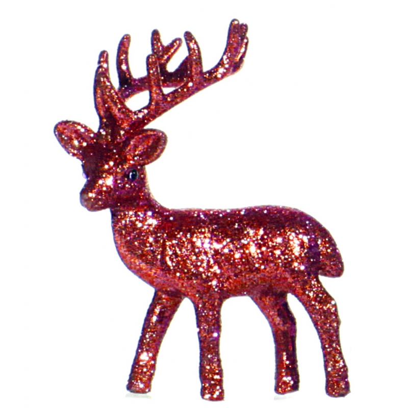 Kerstdecoratie rode glitter rendieren decoraties 10 cm