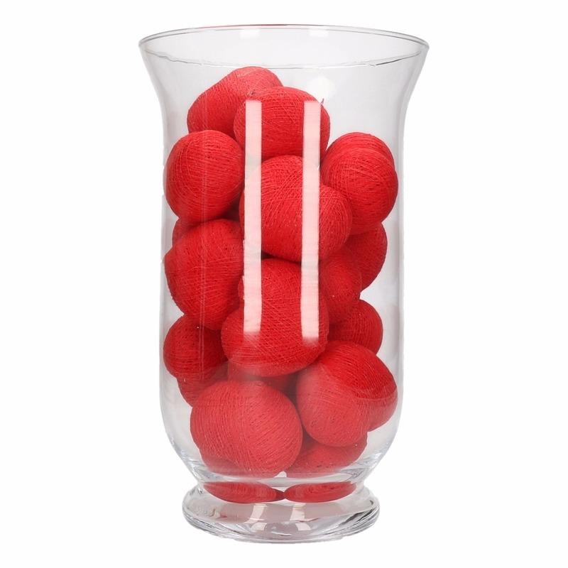 Kerstdecoratie rode verlichting in vaas