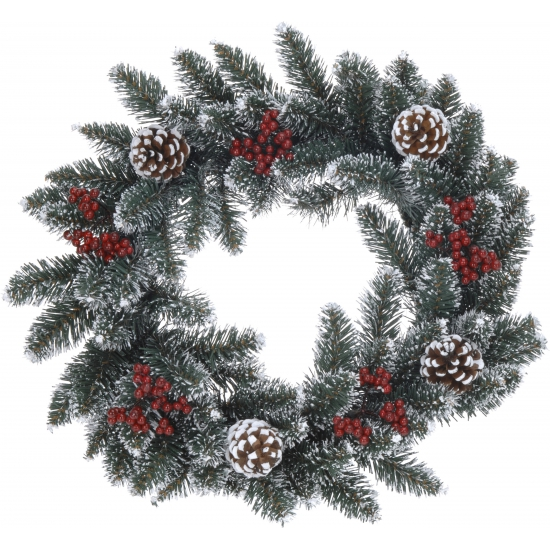 Kerstkrans met dennenappels 45 cm