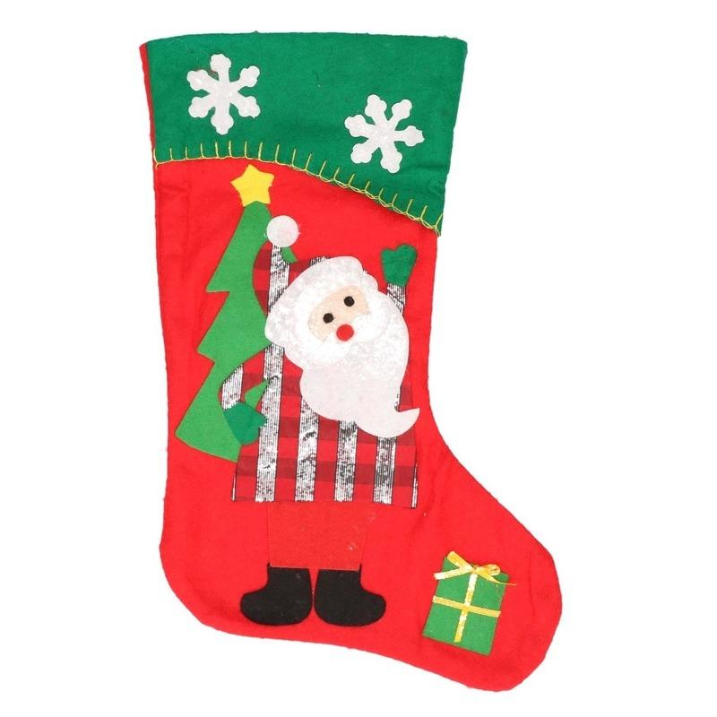 Kerstsok Kerstman rood-groen 45 cm decoratie-versiering