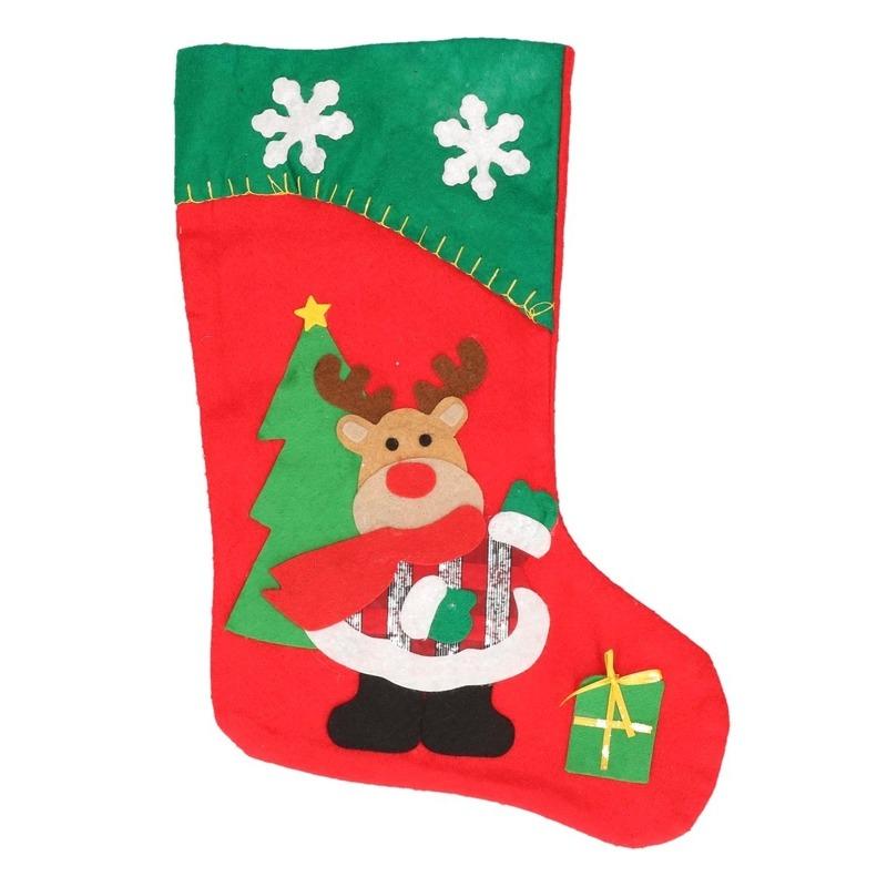 Kerstsok rendier rood-groen 45 cm decoratie-versiering