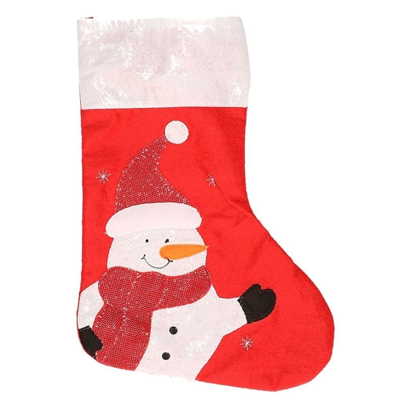 Kerstsok sneeuwpop rood 45 cm decoratie-versiering